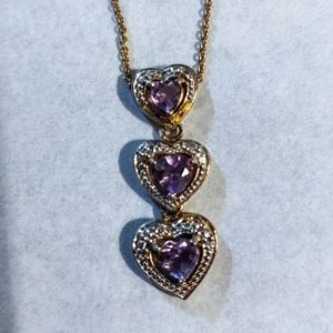 Amethyst Necklace Gold Plate Sterling Silver